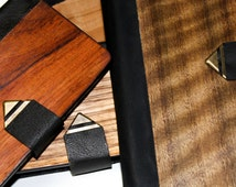Samsung Galaxy S4 & S5 Wood Handmade Genuine Kangaroo Leather Wallet and Real Wood Timber Cell Phone Case / Cover Custom