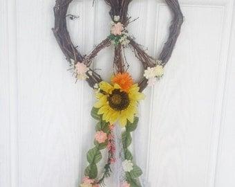 Peace sign hippie wreath