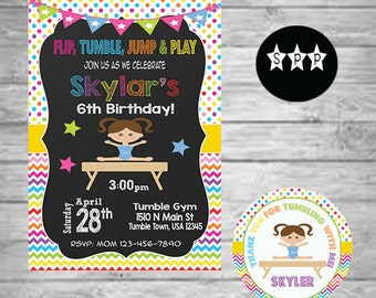 Gymnastic Birthday Invitation, 12 Stickers, Digital, Printable Invitation, Birthday Invitations