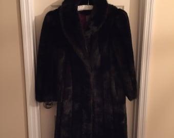 Full length faux fox coat