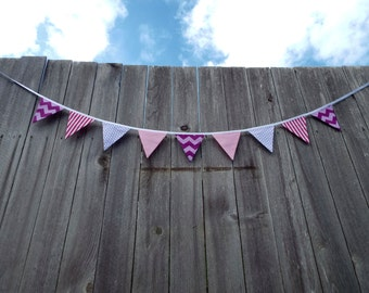 Colorful multi-pattern double-sided fabric bunting