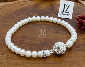 Freshwater Cultured Pearl Bridal Bracelet/Anklet with Crystal Beads and a Rhinestone Magnet Clasp Birthday Gift Mother Love Anniversary Gift