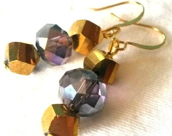 Gold and Purple Faceted Crystal Earrings