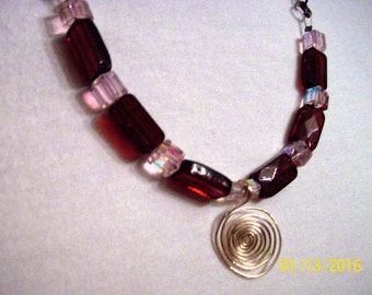 Burgundy and Pink Necklace