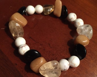 Beaded rock and glass bracelet
