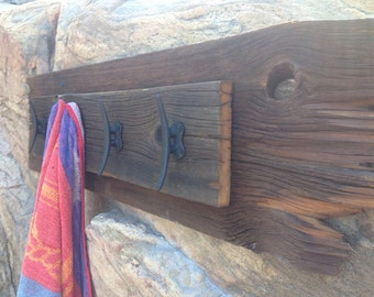 Barn board towel hooks