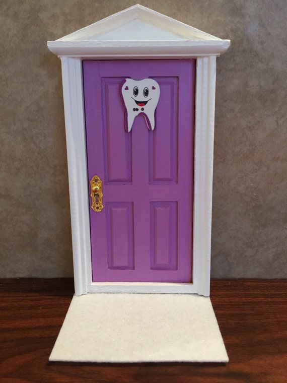 Wooden tooth fairy door tooth fairy door purple with white for Wooden fairy doors