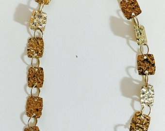 Hammered Disc 14 Karat Yellow Gold Bracelet 5/16 inch wide by 7 inch in length