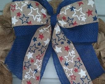Patriotic Stars burlap bow, 4th of July Wreath bow, 4th of July burlap bow, Red bow with stars, Blue bow with stars, Patriotic Decor Bow