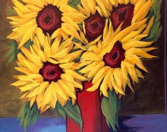 Sunflower decor, sunflower painting, sunflower oil painting, sunflower still life, yellow sunflowers, sunflowers in vase, sunflower art,