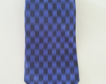 Rene Chagal Blue Black Checkers with White Dots Necktie