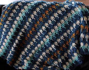 Handmade Blue Afghan Throw Blanket
