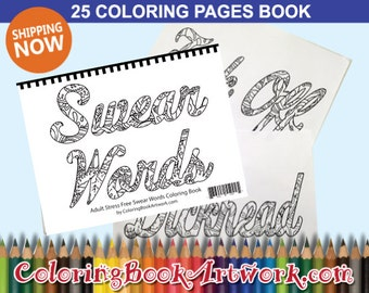 Sweary Words Colouring Book Adult Coloring Book 25 Pages Mature Swearing coloring Book