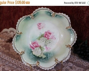End Of Summer SALE Antique R.S. Prussia Large Serving Bowl - Aqua Green with Pink Roses, Green Wreath Red Mark