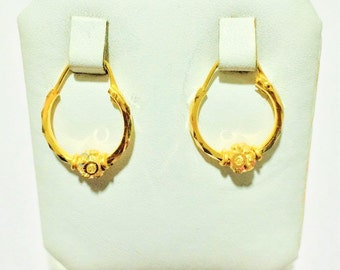 Stunning Hoops/Bali Earrings with Italian cutting ball in Pure 22carat Gold