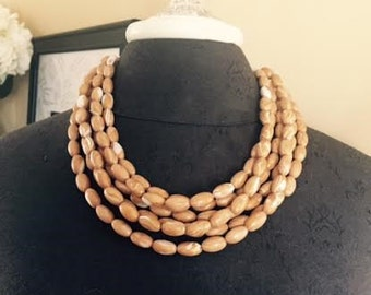 Tan//Gold//White Marbled Statement Necklace