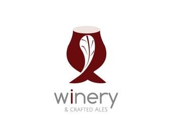 Wine Logo, Ale Logo, Wines, Ales, Hops, Winery Logo, Wine Bar Logo, Wine Shop Logo, Watermark, Premade Logo, Logo Design