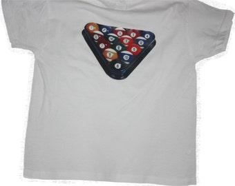 T-Shirt with Racked Pool Balls logo free shipping within UK