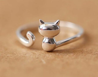 Ring Silver Ring Cat Ring Statement ring,  Adjustable Ring adjustable,  Crystal Ring Jewelry, gift for her, cute Cat Sterrling Silver Ring