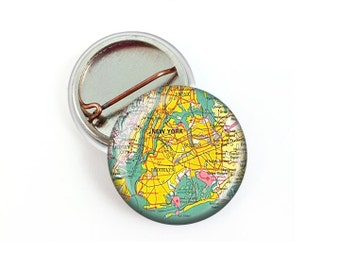 New York City Map Pin Button 1.25 Inch Diameter
