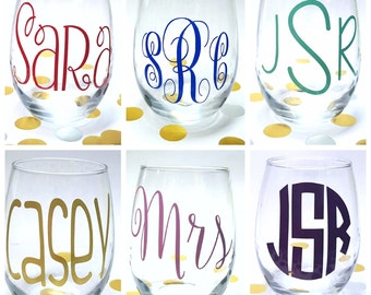 Monogram Stemless Wine Glasses. Personalized gifts. wedding party. roommate. gifts for her. house warming. bride Mrs. bridal party. under 10