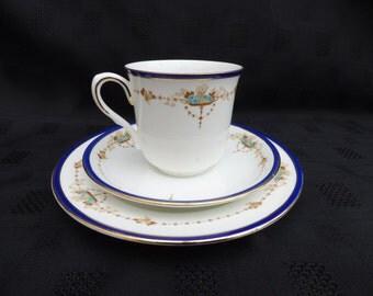 Shelley Triplets, Vincent Shape Cups, Saucers and Side Plates, Porcelain, Art Deco Period