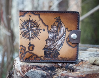 """Adventurous genuine leather wallet """"the Ship"""""""