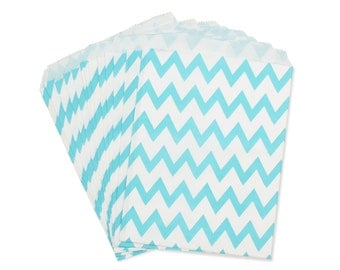 Party Favor Bag, Paper Favor Bags, Light Blue Chevron Favor Bags, Baby Shower Favors, Gender Reveal Party, Wedding Favor, 1st Birthday Favor