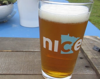 Nice Minnesota Pint Glass - Minnesota Beer Glass, Minnesota State Pint Glass, State Glass  - Made in USA