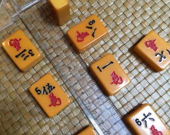 "tiles, Mah jongg, 9, vintage, Bakelite, Butterscotch, ""Crak"" - Looks like new!"
