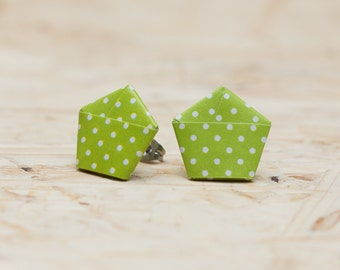 Paper Origami studs - stainless steel - dotted - different colors