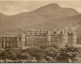 Holyrood Palace & Arthur's Seat EDINBURGH Scotland Sepia POSTCARD Post Card