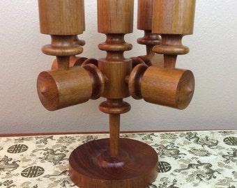 Vintage Digsmed style Danish Modern Teak Wood Candleholder Candelabra