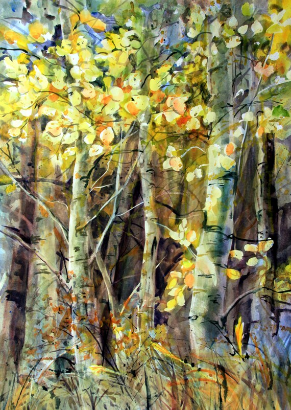 Aspen Grove 12 -- signed print - watercolor - Bonnie White - Aspen Grove - Aspens in Fall - Fall foliage - art - artwork