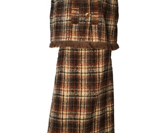 Brown Mohair Cape And Skirt Ensemble Maxi And Knee length Skirt Options 10 UK