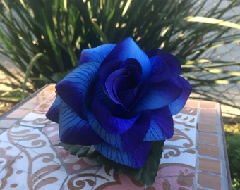 Large Blue Rose and Baby's Breath Hair Clip