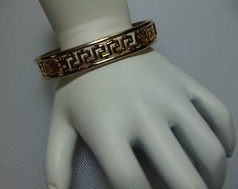 Vintage Gold Tone Clamp Bangle Bracelet with Cut Out Greek Key Design