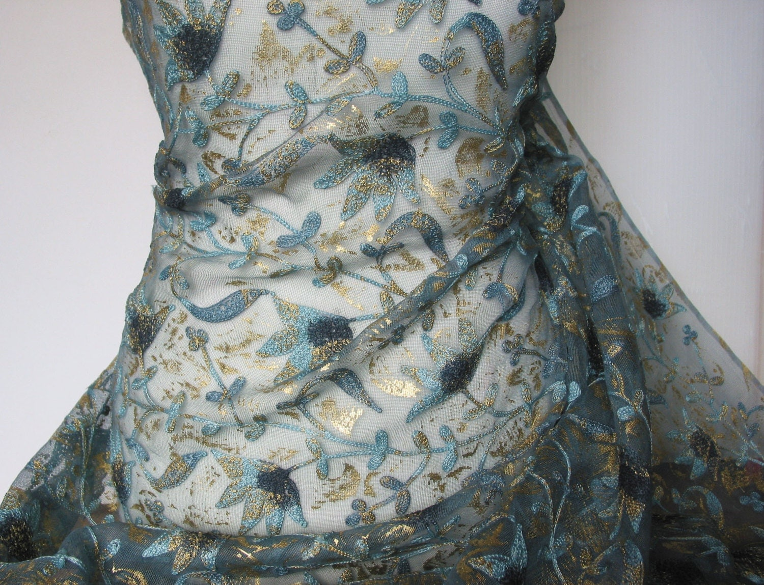 Embroidered Silk Tule Hand Painted Teal Flower