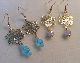 Gold Filigree Flower Earrings