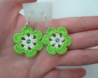 earrings, light green color, salad flower, crochet, earrings  with beads, for girls, for women, gift