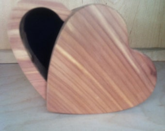 CEDAR HEART BOXES Aromatic  Red Cedar Blue Velvet Lined
