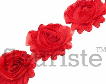 RED Shabby Rose Trim, Shabby Flower Trim, Shabby Flowers, Shabby wholesale, Shabby Trim, Chiffon flower, Shabby by the yard, Shabby