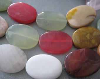 Mixed Stone Oval Beads 13pcs