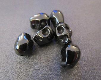 Skull Gunmetal Colored Spacer Beads 6pcs