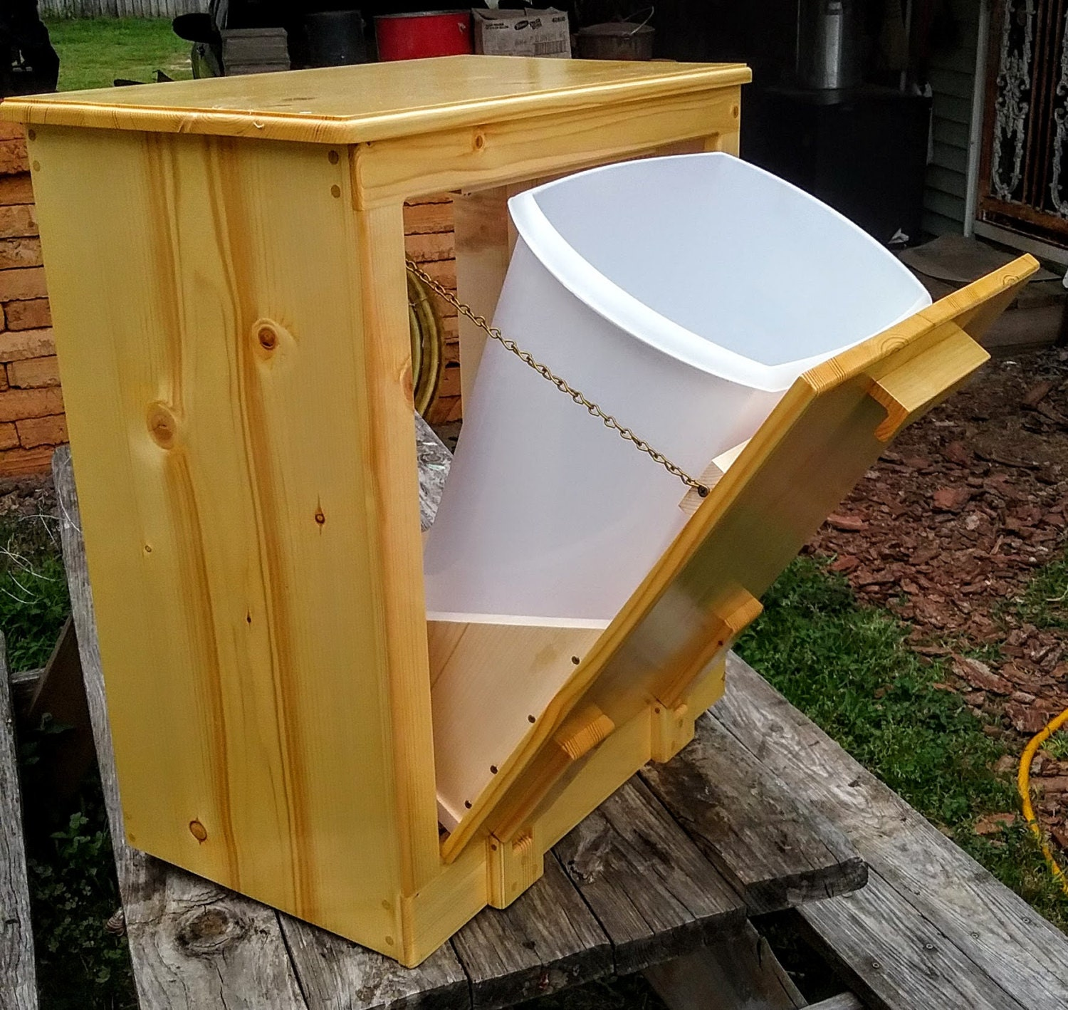 Trash Can Holder Wooden Handmade Trash Holder 12 Gallon