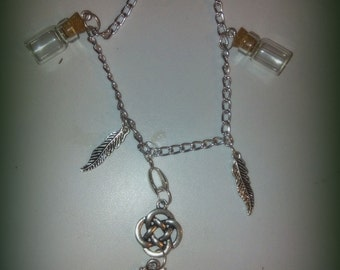 witch wicca and vials necklace