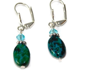 Green stone Swarovski blue Crystal earrings Victorian