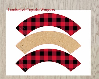 Lumberjack cupcake Wrappers, Buffalo Plaid Cupcake Wrappers, Printable Cupcake Wrappers, Woodland Cupcake Wrappers, Digital File,