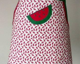 Harvest apron, garden apron, peg apron, women's half apron, watermelon apron