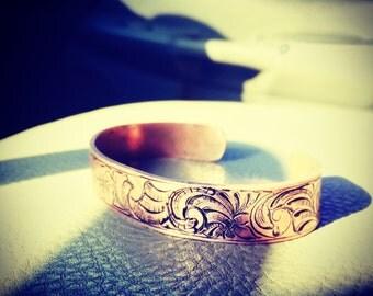 Engraved copper bracelet